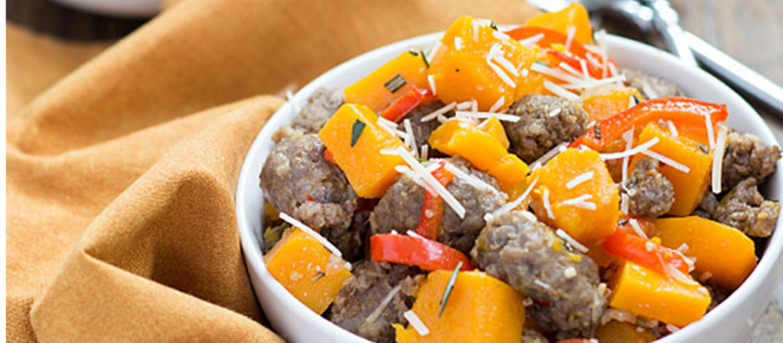 Sweet, Yet Savory Sausage And Butternut Squash Skillet