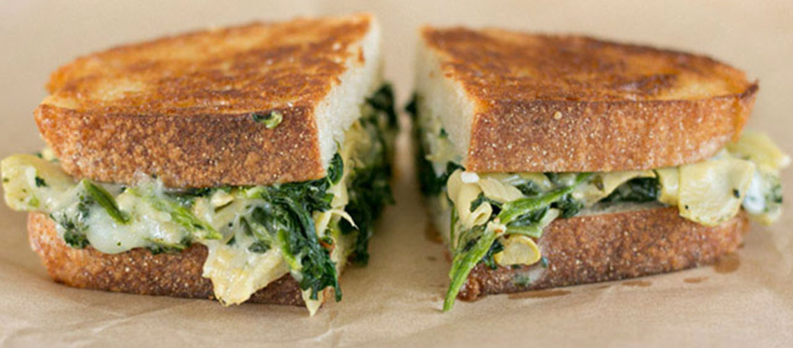 Pack Your Picnic Basket With These Indulgent Spinach Artichoke Grilled Cheese Sandwiches
