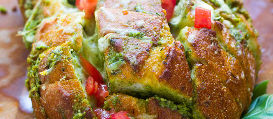 In Just 30 Minutes, You Can Make This Buttery Pesto Pull-Apart Bread